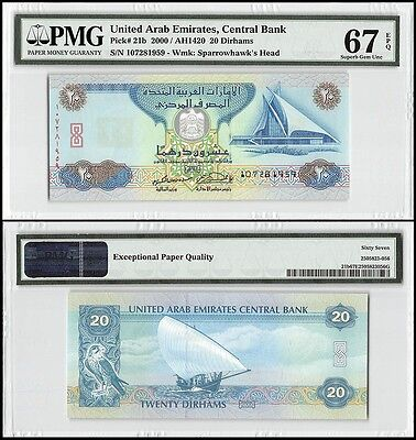 United Arab Emirates UAE 20 Dirhams, 2000,P-21b,UNC,Sparrowhawks Head,PMG 67 EPQ