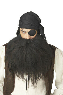 Brand New Pirate Beard & Moustache Halloween Costume Wig Black