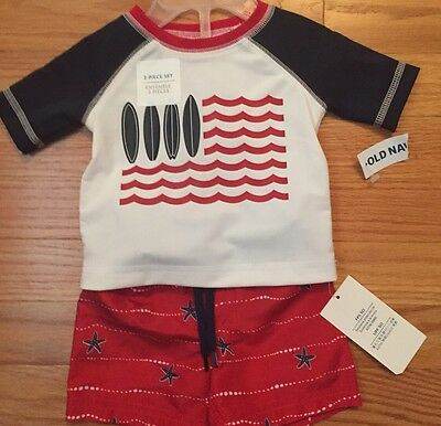Old Navy Baby Boys Rash Guard And Swim Shorts Set Size 0-3 Months New With Tags!