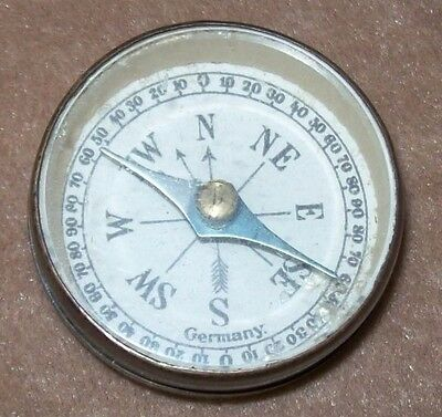 Vintage 1930s German Made Hand Held Pocket Compass in Brass Casing