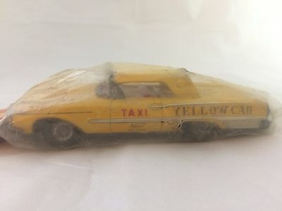 Kyoei Vintage Japan Tin Toy Friction Car Yellow Cab Taxi