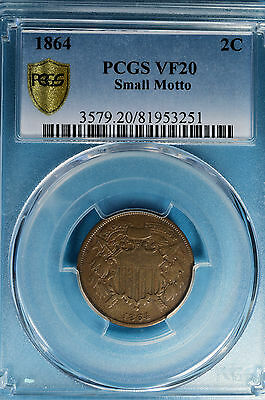 1864 Small Motto Two Cent PCGS VF20- Nice Looking Example