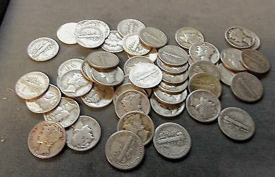 One roll of Mercury dimes $5.00  Circulated