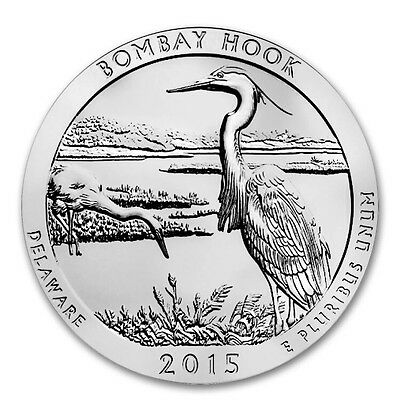 2015 America The Beautiful ATB Bombay Hook Delaware - 5 oz Silver Coin