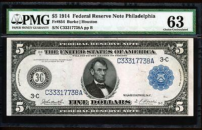 "Fr.854 1914 $5 PHILADELPHIA FRN ""BURKE-HOUSTON"" + PMG CHOICE NEW UNCIRCULATED 63"