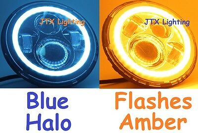 "1pr 7"" Headlights BLUE Halo Flash AMBER on turning Cadillac Allante Brougham"