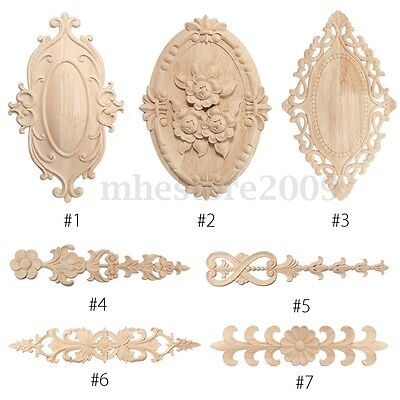 Wood Carved Applique Frame Onlay Furniture Decoration Unpainted Multi-Patterns