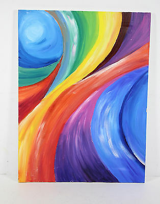 Abstract Rainbow Swirls Acrylic Oil Painting
