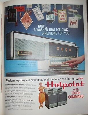 Vintage Original 1960 Hotpoint with Touch Command Print Art Ad