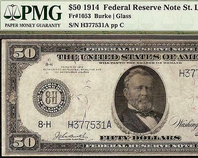 Large 1914 $50 Dollar Bill Federal Reserve Note Big Currency Paper Money Pmg