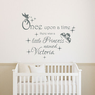 Once Upon A Time Custom Name Little Princess Initial Vinyl Sticker Wall Decal 13