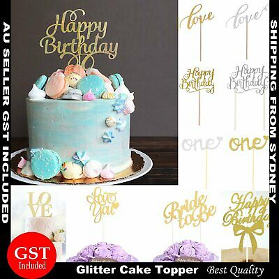 Cake Topper Cupcake Birthday Gold Silver Glitter Party Wedding DIY Decoration