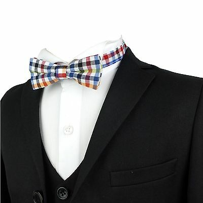 Kids Fashion Check Bow Tie Boys Bow Tie Boys Red and Blue Plaid Bow Tie