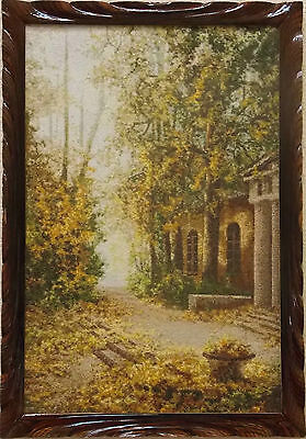 Indian summer Cross stitch Autumn Hand Embroidered picture Maison Porch