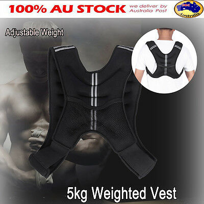 5kg Adjustable Weighted Vest Gym Weight Sports Loss Training Exercise Fitness