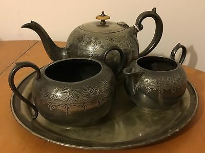 Vintage Silver Plated Tea Set Teapot Milk Jug Sugar Bowl Tray Beautiful Decorate