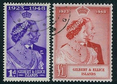 GILBERT & ELLICE ISLANDS-1948 Royal Silver Wedding Set Sg 57-58 FINE USED V15665