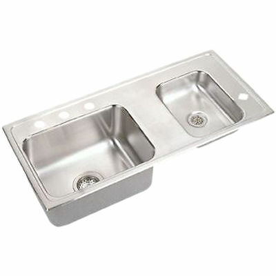 """Elkay DRKRQ3717R4 37""""x17"""" Lustertone Two-Bowl Quick-Clip Classroom Fountain Sink"""