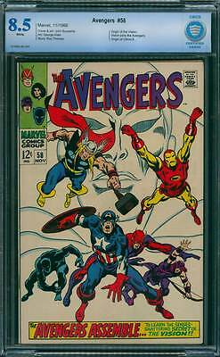 Avengers # 58  Senses Shattering Origin of the Vision !  CBCS 8.5 scarce book !