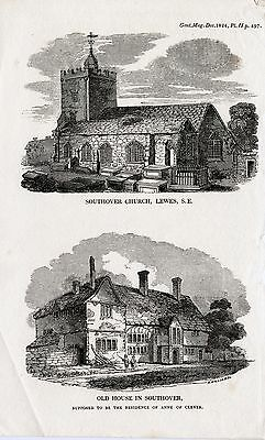 1824 Antique Print of Southover, Lewes: Church & Anne of Cleaves House, Sussex