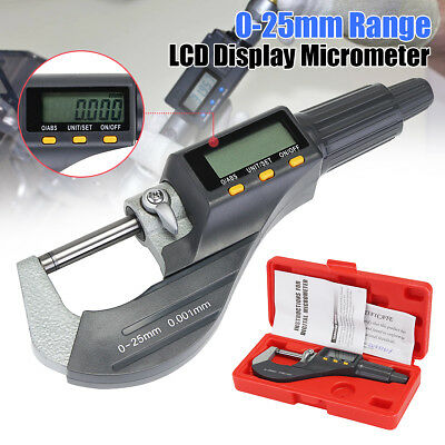 "0-1"" 0.00005"" Digital Electronic Outside Micrometer Carbide Tip 0-25mm Kit LCD"