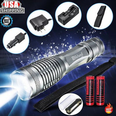 15000Lm Elfeland T6 LED Tactical  5Modes Flashlight Torch Battery Charger Pouch