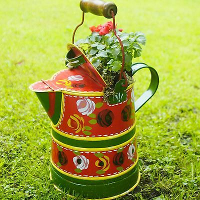 Medium Red Narrowboat Watercan Traditional Style