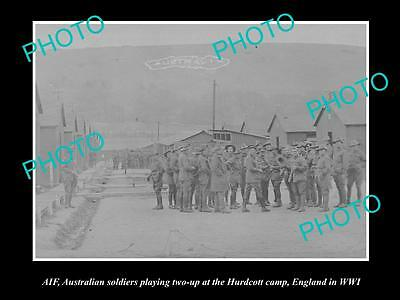 Old Large Historic Photo Of Australian Anzac Soldiers Playing 2-Up, Hurdcott Wwi