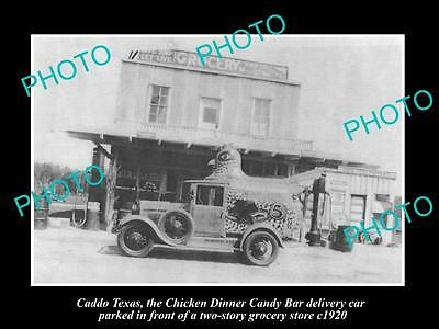 OLD LARGE HISTORIC PHOTO OF CADDO TEXAS, THE CHICKEN DINNER CANDY BAR CAR c1920