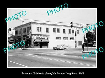 OLD LARGE HISTORIC PHOTO OF LA HABRA CALIFORNIA, THE SUTTONS DRUG STORE c1960