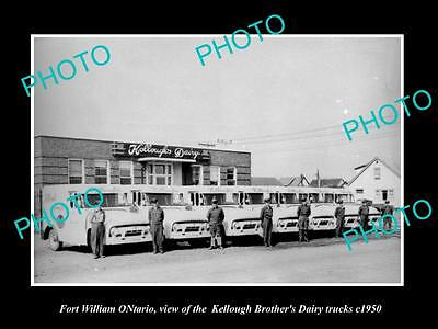 Old Large Historic Photo Of Fort William Ontario, The Kellough Dairy Trucks 1950
