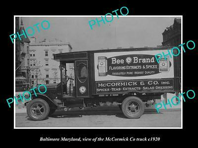OLD LARGE HISTORIC PHOTO OF BALTIMORE MARYLAND, McCORMICK BEE BRAND TRUCK c1920