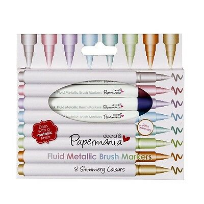 PACK OF 8 FLUID METALLIC BRUSH MARKERS - Docrafts/Papermania