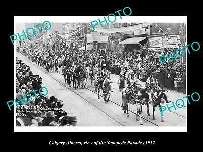 OLD HISTORIC PHOTO OF CANADA, CALGARY ALBERTA, THE STAMPEDE PARADE c1912