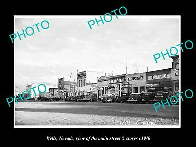 OLD LARGE HISTORIC PHOTO OF WELLS NEVADA, THE MAIN STREET & STORES c1940