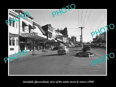OLD LARGE HISTORIC PHOTO OF INNISFAIL QUEENSLAND, THE MAIN ST & STORES c1960 1