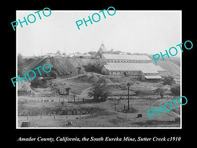 Old Large Historic Photo Of Sutter Creek California,the South Eureka Mine 1910
