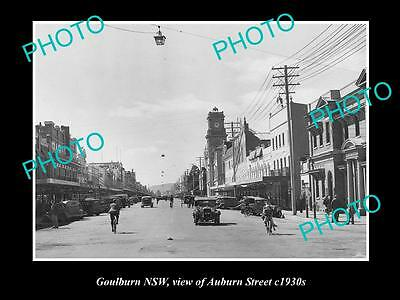 OLD LARGE HISTORIC PHOTO OF GOULBURN NSW, VIEW OF AUBURN St c1930s