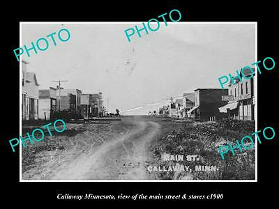OLD LARGE HISTORIC PHOTO OF CALLAWAY MINNESOTA, THE MAIN STREET & STORES c1900