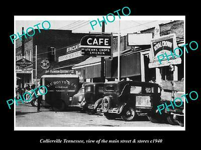 OLD LARGE HISTORIC PHOTO OF COLLIERVILLE TENNESSEE, THE MAIN St & STORES c1940 1