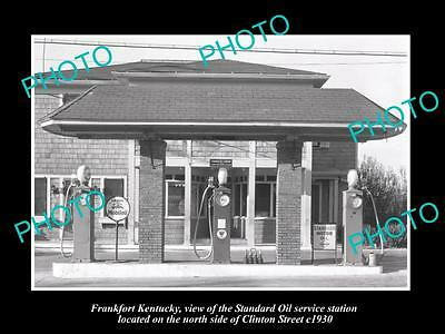 OLD LARGE HISTORIC PHOTO OF FRANKFORT KENTUCKY, STANDARD OIL GAS STATION c1930
