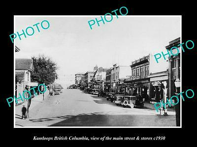 OLD LARGE HISTORIC PHOTO OF KAMLOOPS BRITISH COLUMBIA, THE MAIN St & STORES 1930