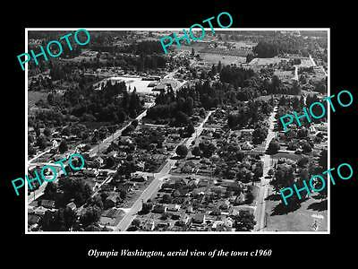 OLD LARGE HISTORIC PHOTO OF OLYMPIA WASHINGTON, AERIAL VIEW OF THE TOWN c1960