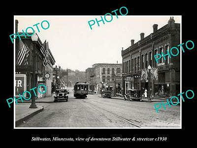 OLD LARGE HISTORIC PHOTO OF STILLWATER MINNESOTA, STREETCAR IN DOWNTOWN c1930