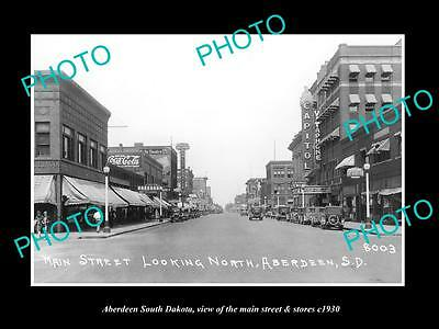 Old Large Historic Photo Of Aberdeen South Dakota, The Main Street & Stores 1930