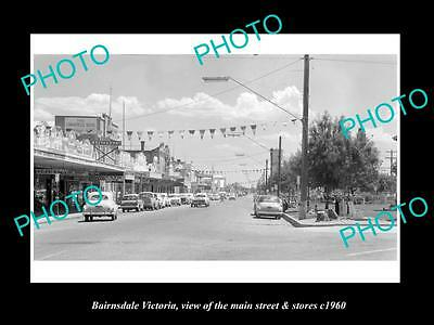 OLD LARGE HISTORIC PHOTO OF BAIRNSDALE VICTORIA, THE MAIN St & STORES c1960