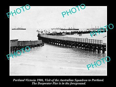 OLD LARGE HISTORIC PHOTO OF PORTLAND VICTORIA, AUST SQUADRON IN HARBOUR c1906