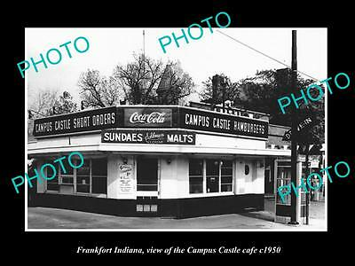 OLD LARGE HISTORIC PHOTO OF FRANKFORT INDIANA, THE CAMPUS CASTLE CAFE c1950
