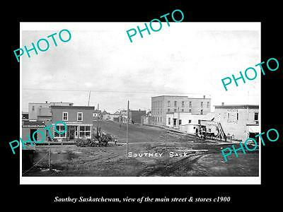 OLD LARGE HISTORIC PHOTO OF SOUTHEY SASKATCHEWAN, THE MAIN ST & STORES c1900