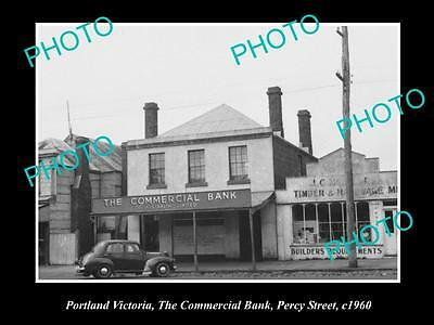 OLD LARGE HISTORIC PHOTO OF PORTLAND VIC, COMMERCIAL BANK OF AUSTRALIA c1960